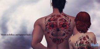 Rose & Skulls Unisex Body Tattoo May 2019 Group Gift by Bratz Custom Designz- Teleport Hub - teleporthub.com