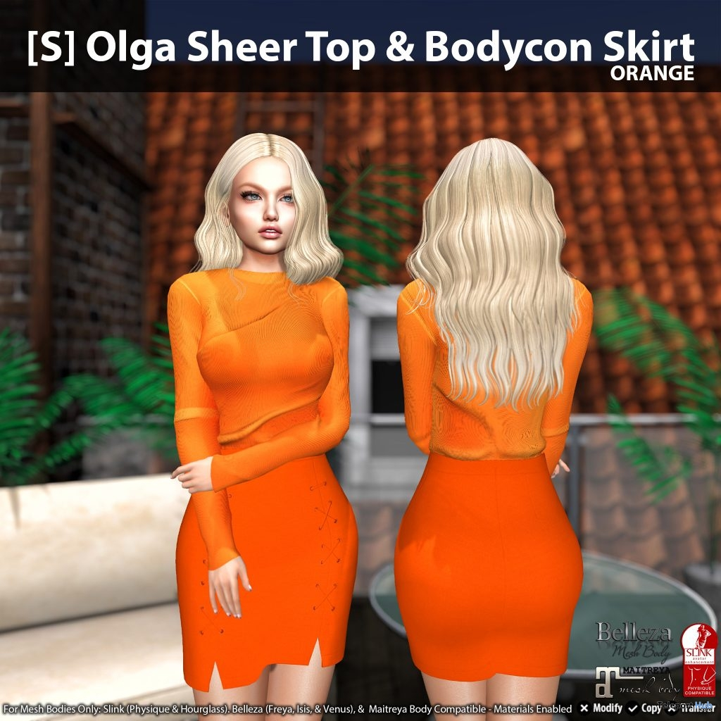 New Release: [S] Olga Sheer Top & Bodycon Skirt by [satus Inc] - Teleport Hub - teleporthub.com