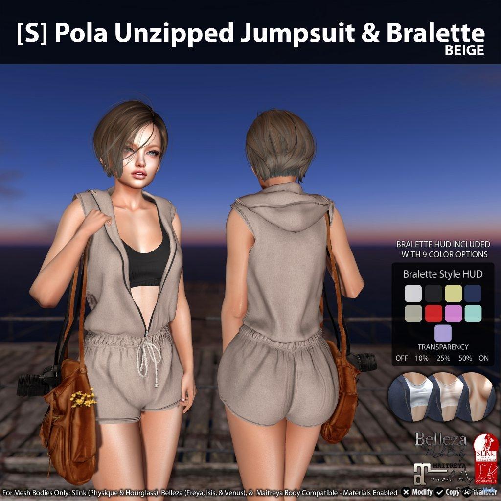 New Release: [S] Pola Unzipped Jumpsuit & Bralette by [satus Inc]- Teleport Hub - teleporthub.com