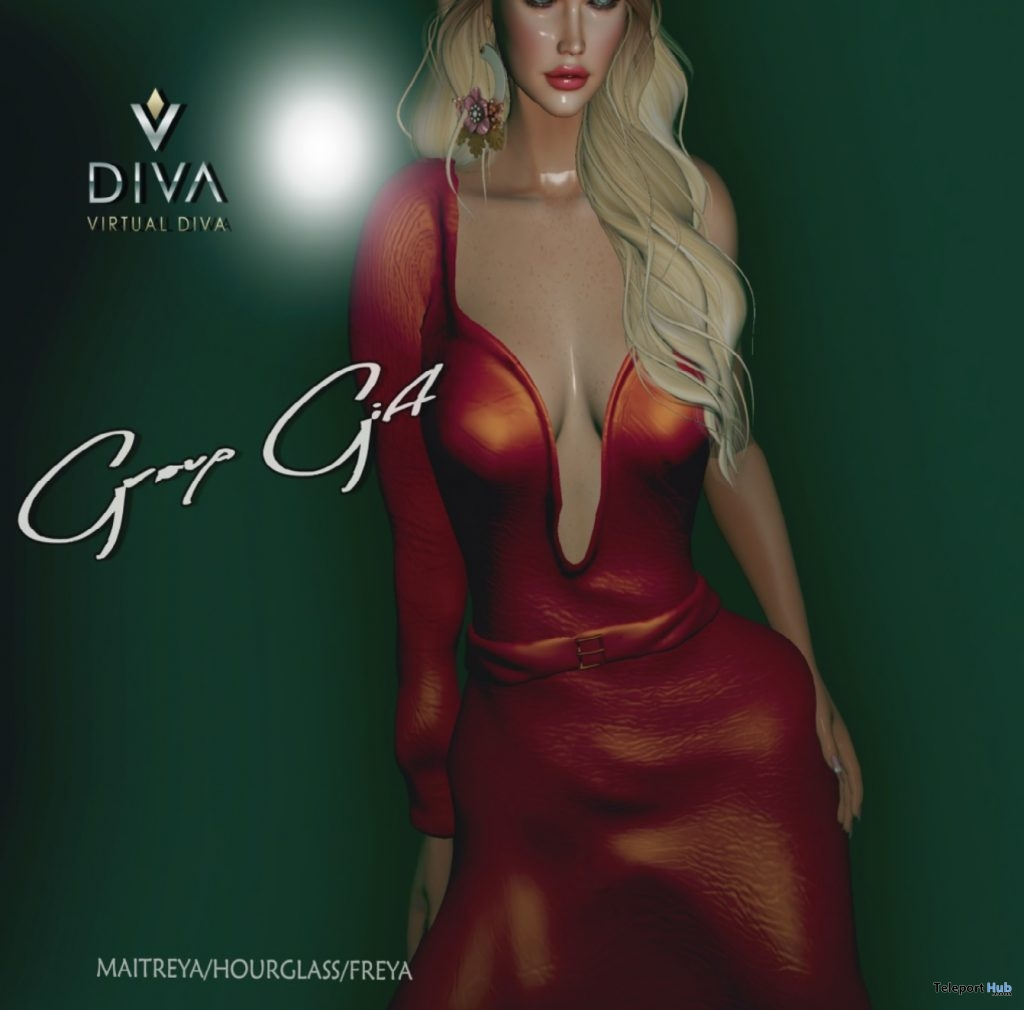 Low Cut Dress May 2019 Group Gift by Virtual Diva Couture- Teleport Hub - teleporthub.com