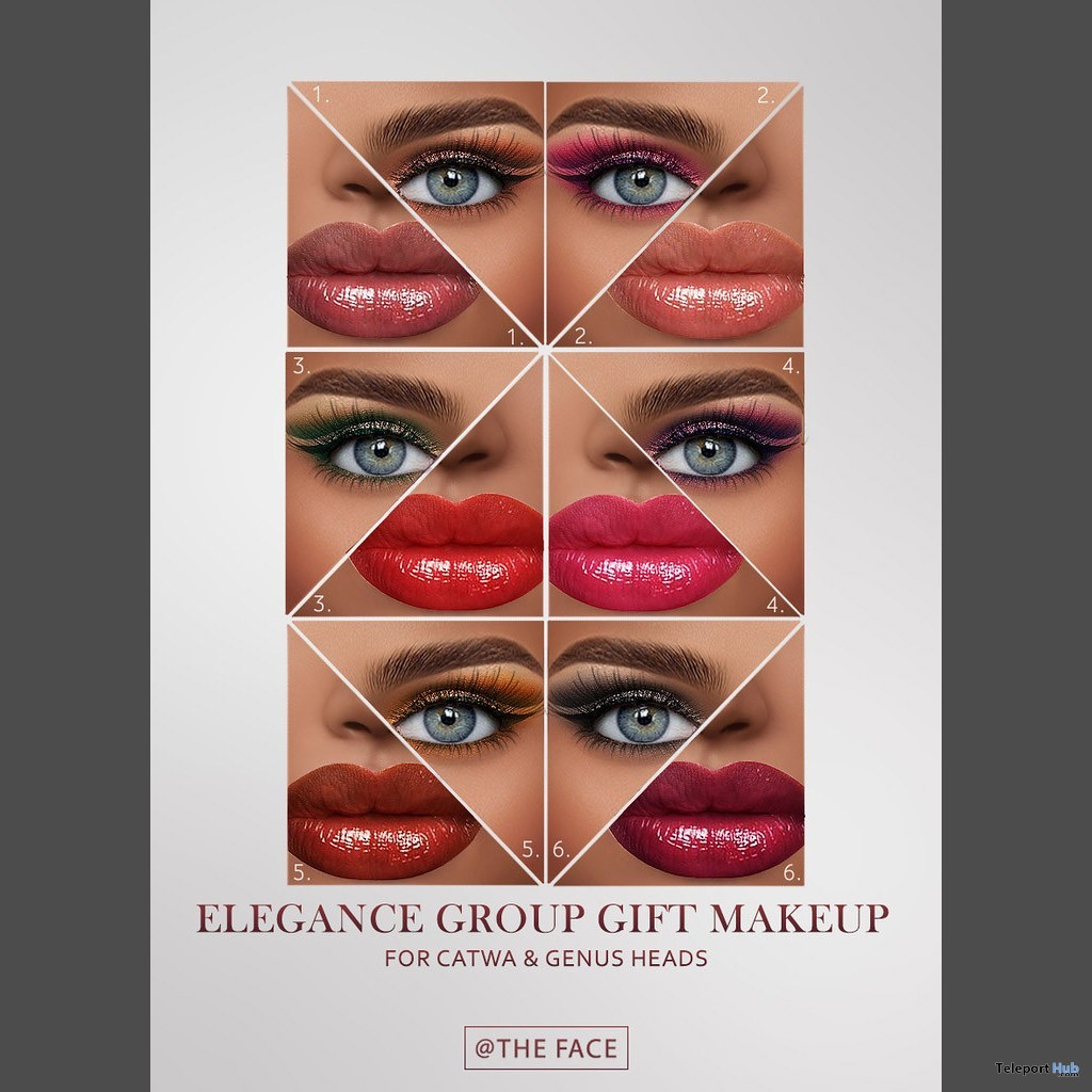Elegance Makeup Pack For Catwa & Genus Heads May 2019 Group Gift by The Face- Teleport Hub - teleporthub.com