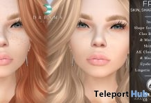 Skin, Shape, Earrings, & White Lingerie June 2019 Group Gift by Dreams - Teleport Hub - teleporthub.com