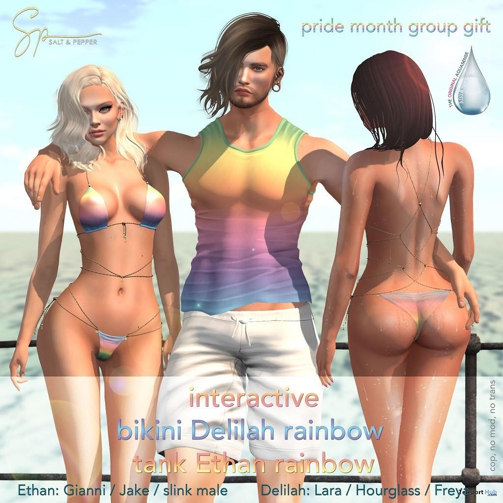 Interactive Delilah Bikini & Ethan Tank Rainbow Edition June 2019 Group Gift by Salt & Pepper- Teleport Hub - teleporthub.com
