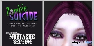 Mustache Septum Piercing Fatpack June 2019 Group Gift by Zombie Suicide - Teleport Hub - teleporthub.com