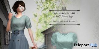 High-Waist Flare Skirt & Puff-Sleeve Top June 2019 Group Gift by S@BBiA - Teleport Hub - teleporthub.com