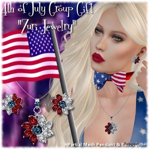 Pammela USA Set Necklace & Earrings July 2019 Group Gift by Zuri Jewelry- Teleport Hub - teleporthub.com