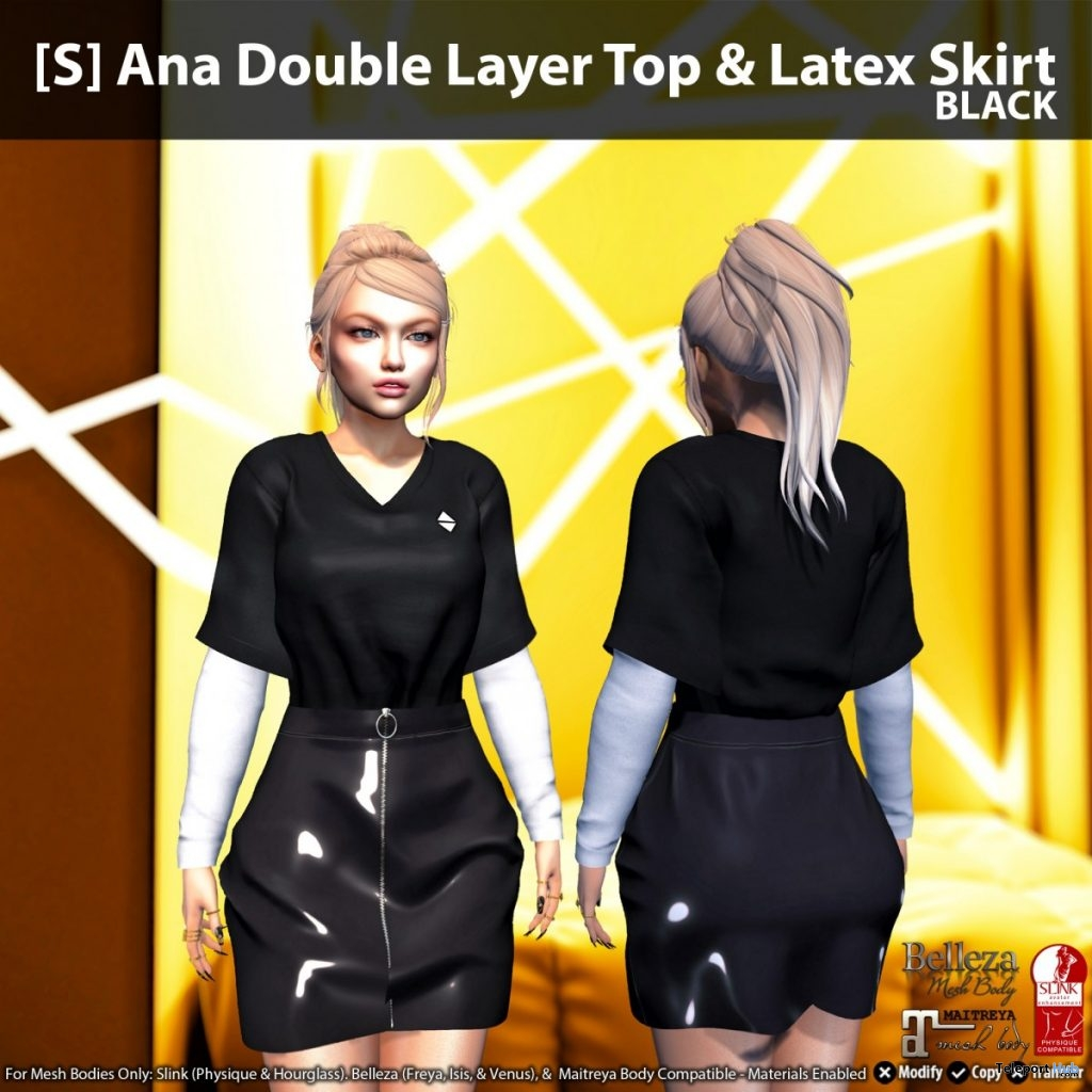 New Release: [S] Ana Double Layer Top & Latex Skirt by [satus Inc]- Teleport Hub - teleporthub.com