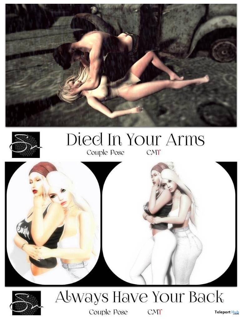 Always Have Your Back & Died In Your Arms Poses June 2019 Group Gift by Something New - Teleport Hub - teleporthub.com