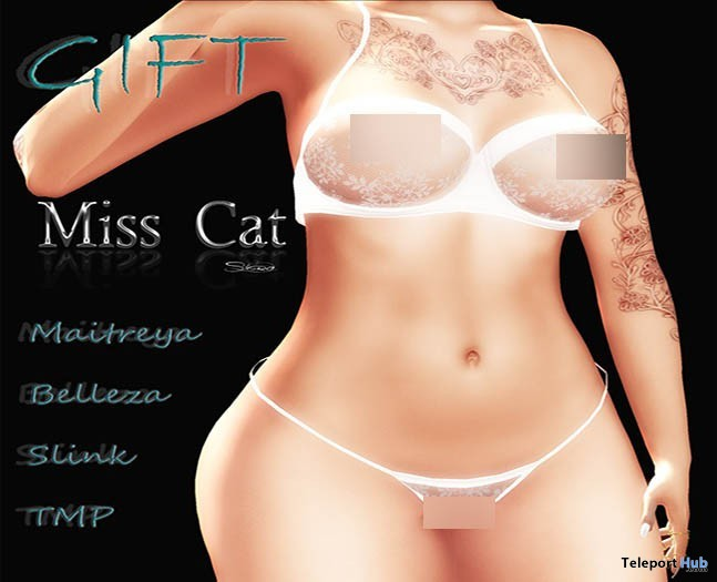 Valentina Lingerie White Lace June 2019 Group Gift by Miss Cat Store- Teleport Hub - teleporthub.com