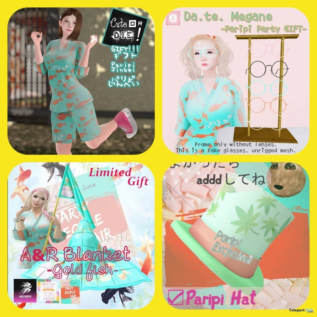 Jinbei, Party Hat, Glasses, & Gold Fish Blanket Shopper Appreciation Gifts by Various Designers @ Party People Fair 2019 - Teleport Hub - teleporthub.com
