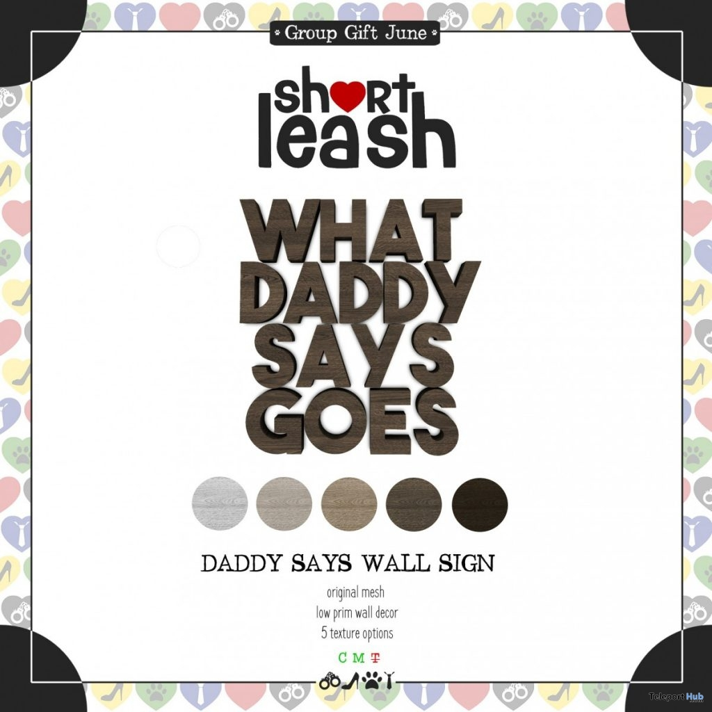 Daddy Says Wall Sign July 2019 Group Gift by Short Leash - Teleport Hub - teleporthub.com