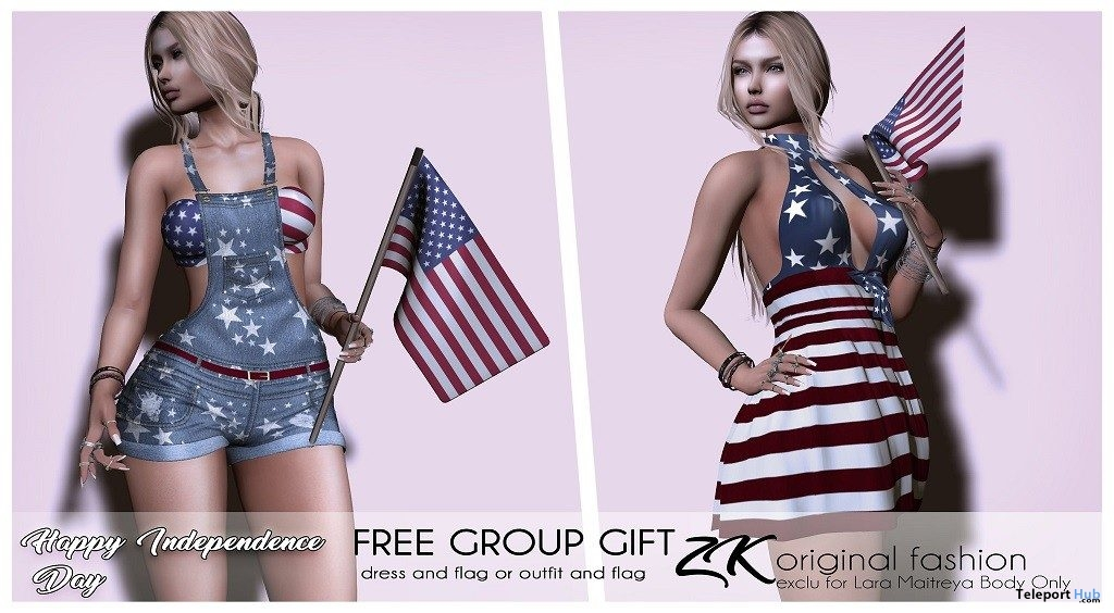 Independence Day Outfit & Flag July 2019 Group Gift by zk- Teleport Hub - teleporthub.com