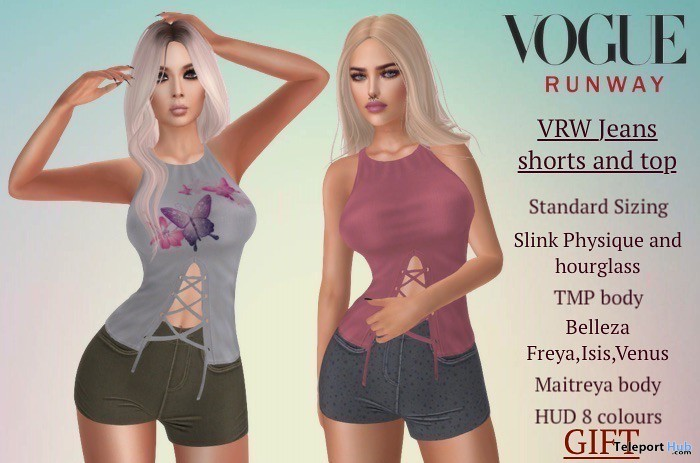 Jean Shorts & Top July 2019 Group Gift by Vogue Runway - Teleport Hub - teleporthub.com