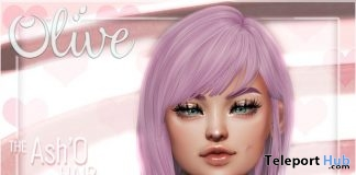Ash'O Hair Pink July 2019 Group Gift by Olive Hair- Teleport Hub - teleporthub.com