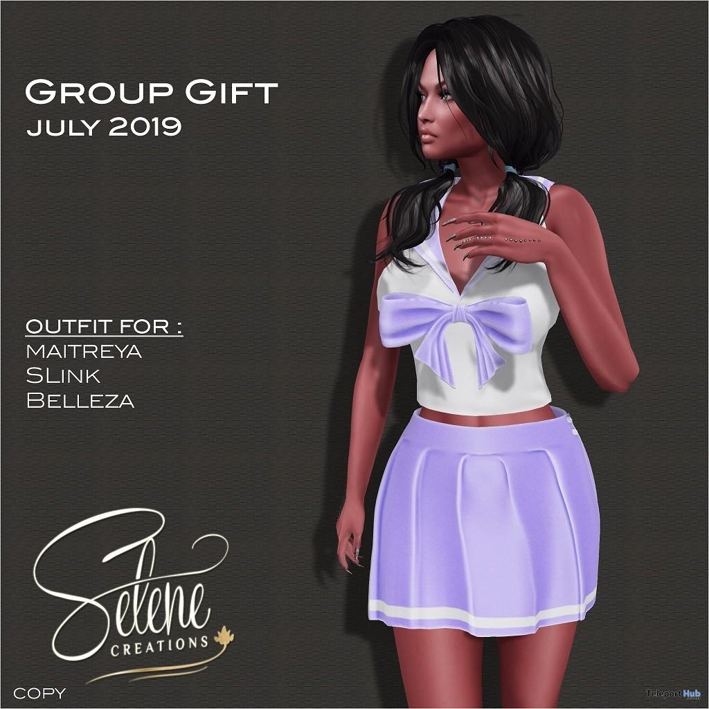 Purple School Girl Outfit July 2019 Group Gift by Selene Creations- Teleport Hub - teleporthub.com