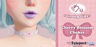 Cherry Blossom Choker July 2019 Group Gift by Kiu - Teleport Hub - teleporthub.com
