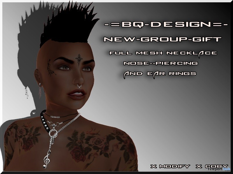 Piercing, Earring, & Necklace July 2019 Group Gift by BQ-DESIGN - Teleport Hub - teleporthub.com