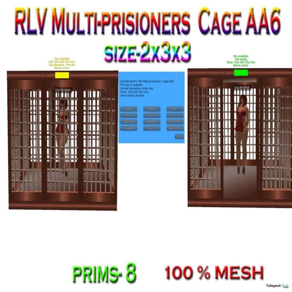 RLV Multi-prisioners Cage AA6 July 2019 Group Gift by Carissa Designs- Teleport Hub - teleporthub.com