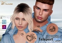Heart & Skull Neck Tattoos July 2019 Group Gift by D'Luxe Body Fashion - Teleport Hub - teleporthub.com