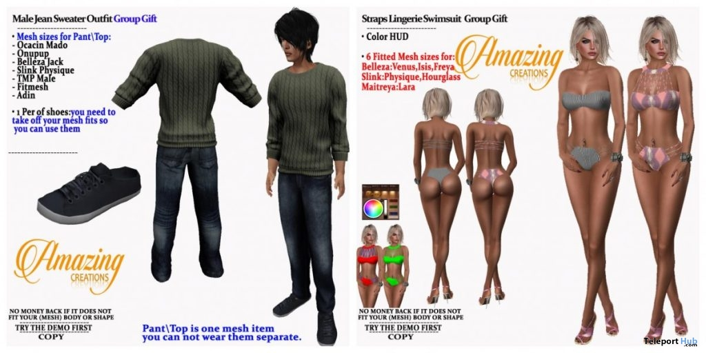 Strap Lingerie Swimsuit & Jean Sweater Outfit July 2019 Group Gift by AmAzIng CrEaTiOnS - Teleport Hub - teleporthub.com