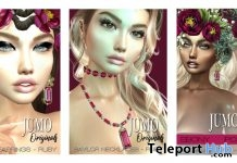 Joanna Skin, Baylor Necklaces Ruby, & Delilah Earrings Ruby July 2019 Anniversary Group Gift by JUMO - Teleport Hub - teleporthub.com