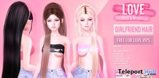 Girlfriend Hair Fatpack August 2019 Group Gift by LOVE - Teleport Hub - teleporthub.com