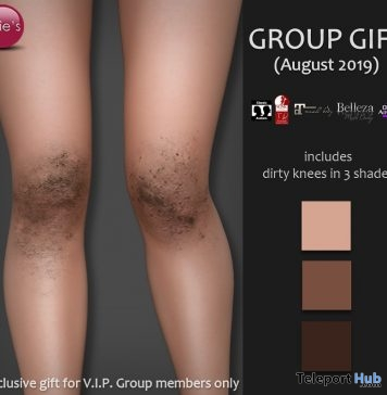 Dirty Knees In 3 Shades August 2019 Group Gift by Izzie's - Teleport Hub - teleporthub.com