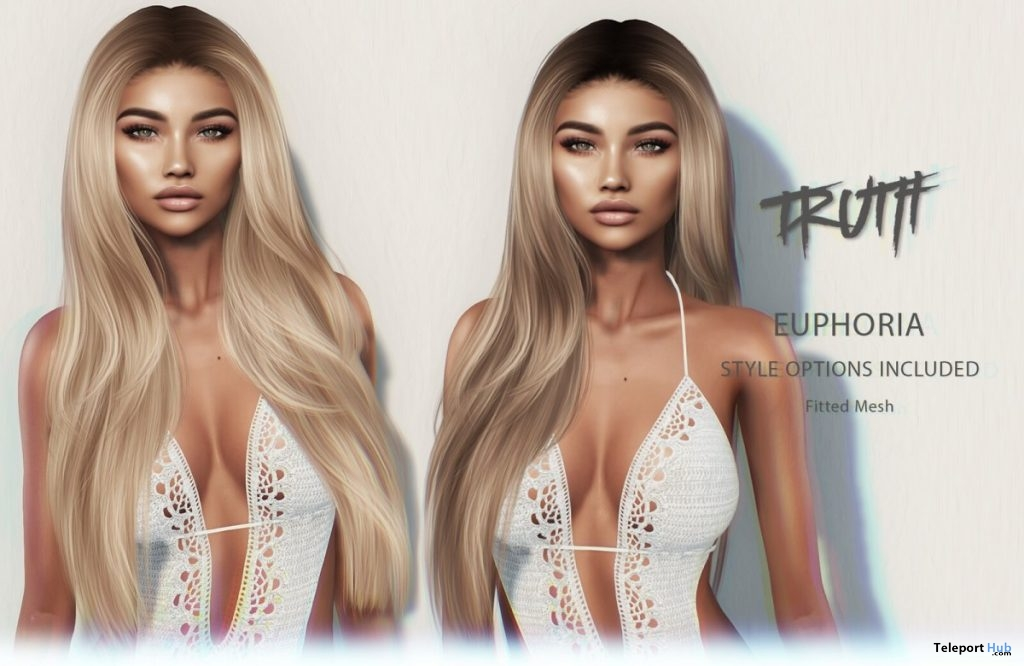 Euphoria Hair Fatpack With Style HUD Group Gift by TRUTH HAIR - Teleport Hub - teleporthub.com