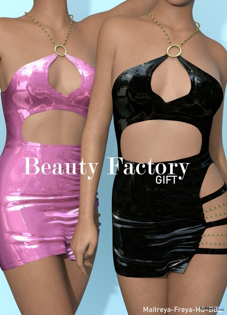 Vangie Dress Black & Pink August 2019 Group Gift by Beauty Factory- Teleport Hub - teleporthub.com