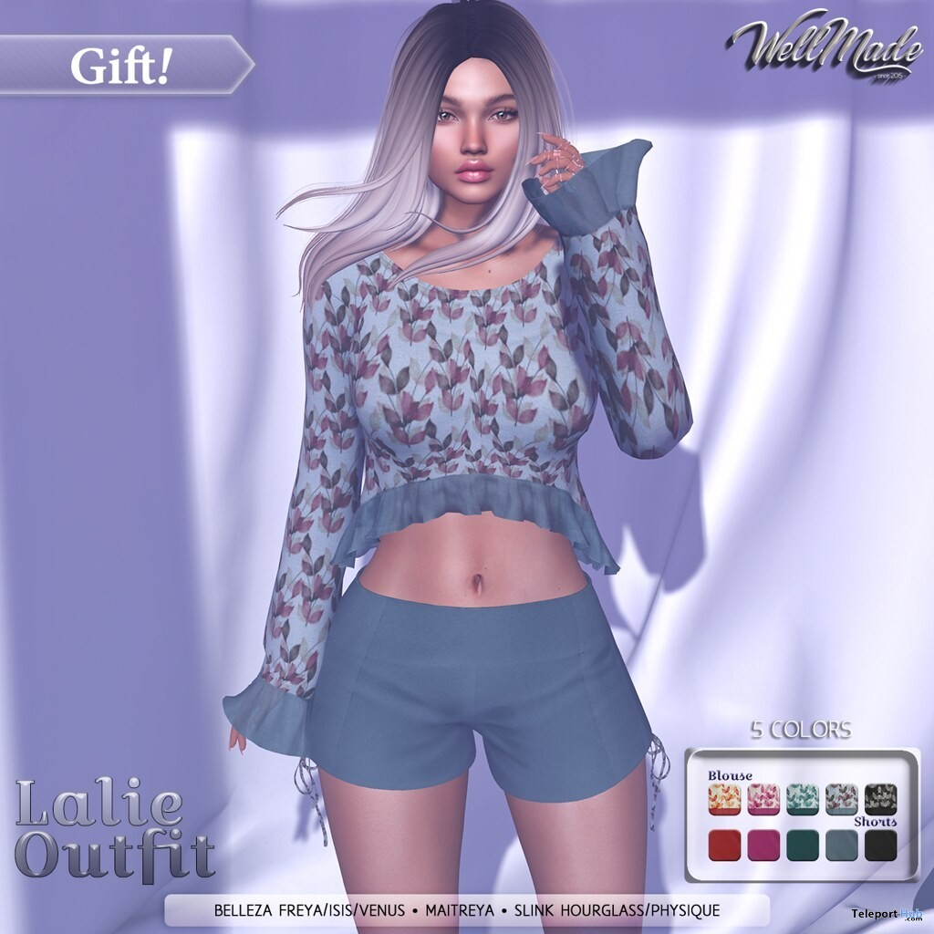 Lalie Outfit August 2019 Group Gift by [WellMade] - Teleport Hub - teleporthub.com