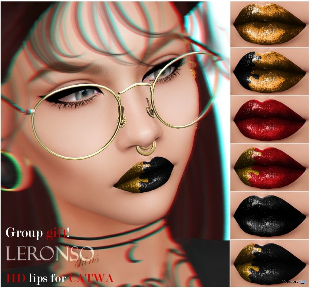 HD Lipstick Set For Catwa Mesh Head August 2019 Group Gift by LERONSO skins- Teleport Hub - teleporthub.com