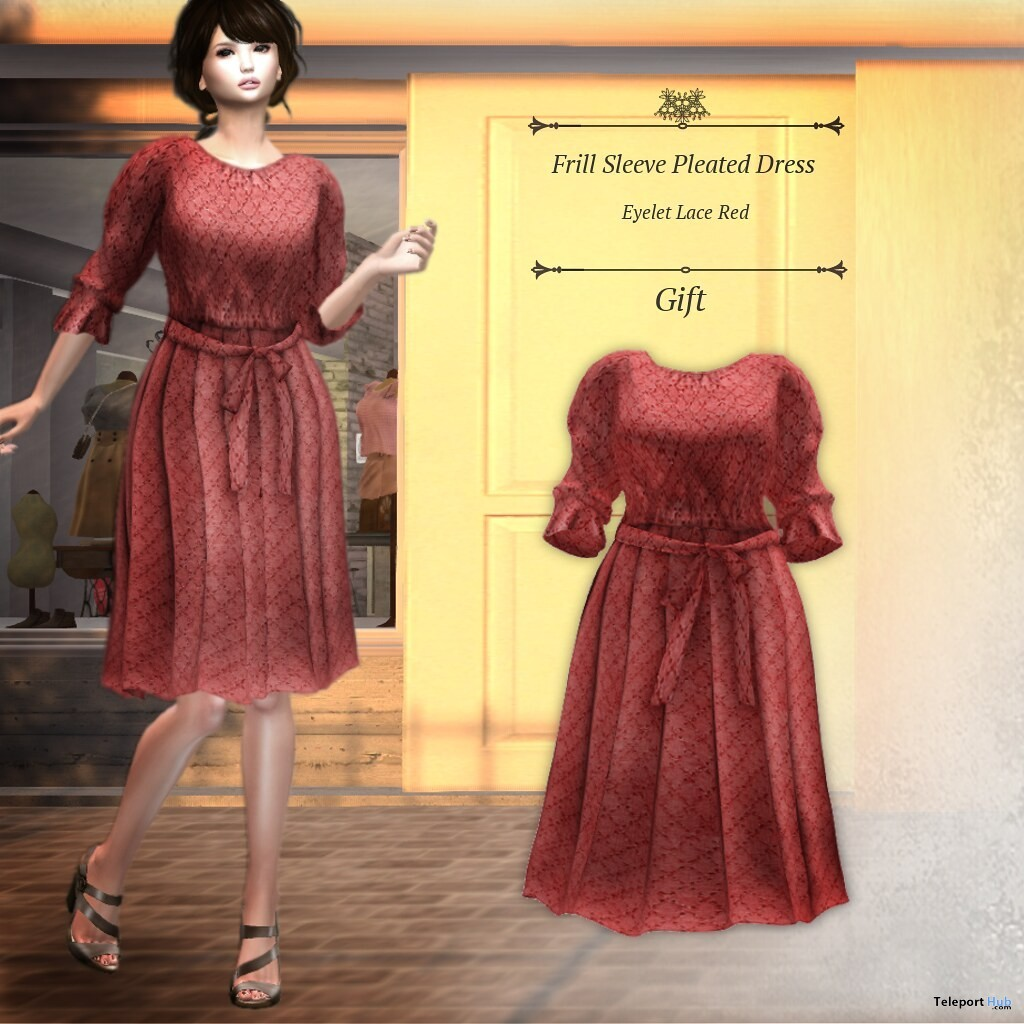 Frill Sleeve Pleated Dress August 2019 Group Gift by S@BBiA- Teleport Hub - teleporthub.com