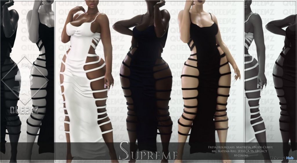 Supreme Dress August 2019 Group Gift by QUEENZ - Teleport Hub - teleporthub.com