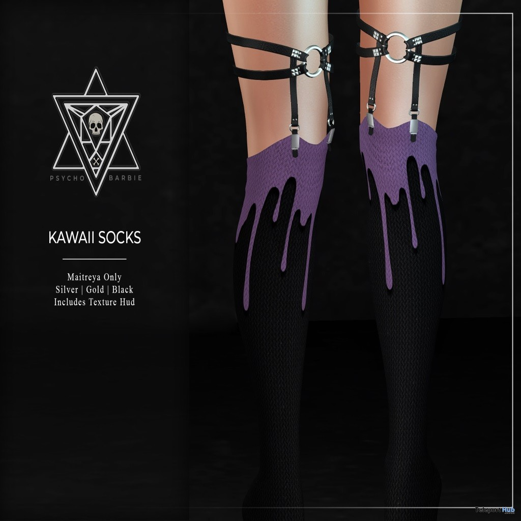 Kawaii Socks August 2019 Group Gift by Psycho Barbie - Teleport Hub - teleporthub.com
