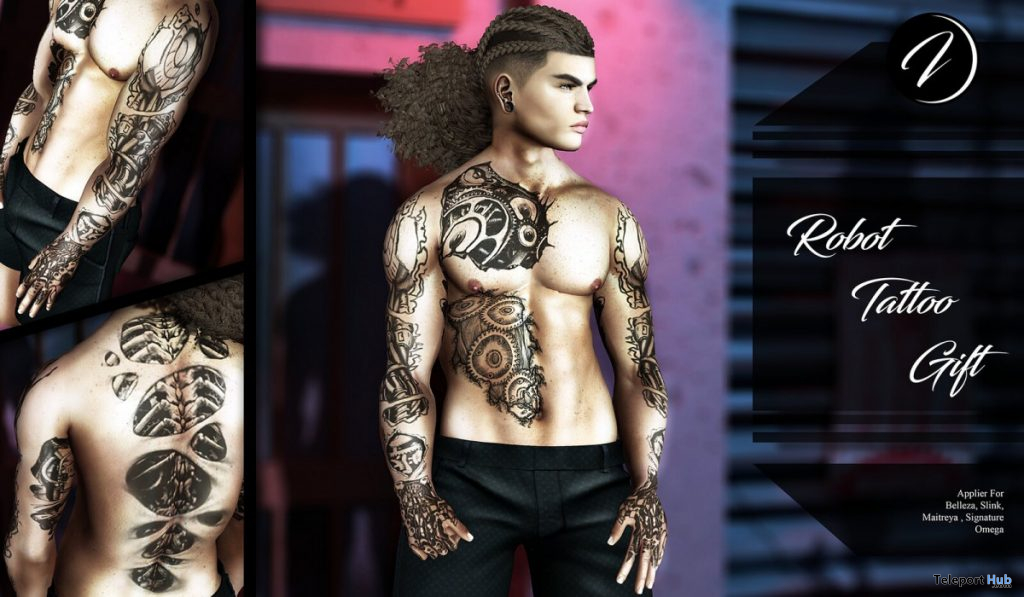Robot Tattoo Commotion Event September 2019 Group Gift by Inker- Teleport Hub - teleporthub.com