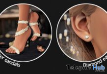 Feather Sandals & Diamond Earrings September 2019 Group Gift by TETRA- Teleport Hub - teleporthub.com
