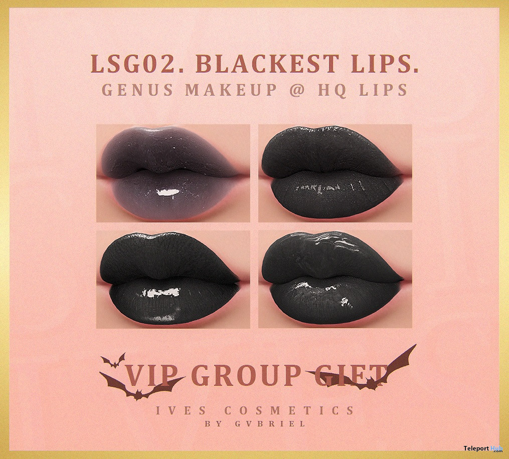 The Blackest Lipsticks For GENUS Mesh Head October 2019 Group Gift by IVES. - Teleport Hub - teleporthub.com