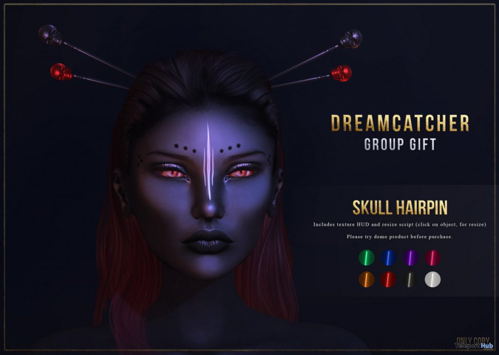 Skull Hairpin Fatpack October 2019 Group Gift by Dreamcatcher - Teleport Hub - teleporthub.com