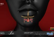 Lia Lip Piercings October 2019 Group Gift by ANDORE- Teleport Hub - teleporthub.com