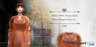 Ethnic Dress Orange Black & Pumps October 2019 Group Gift by S@BBiA - Teleport Hub - teleporthub.com