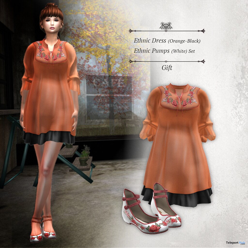 Ethnic Dress Orange Black & Pumps October 2019 Group Gift by S@BBiA- Teleport Hub - teleporthub.com