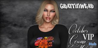 Halloween Top & Shorts October 2019 Group Gift by Graffitiwear - Teleport Hub - teleporthub.com