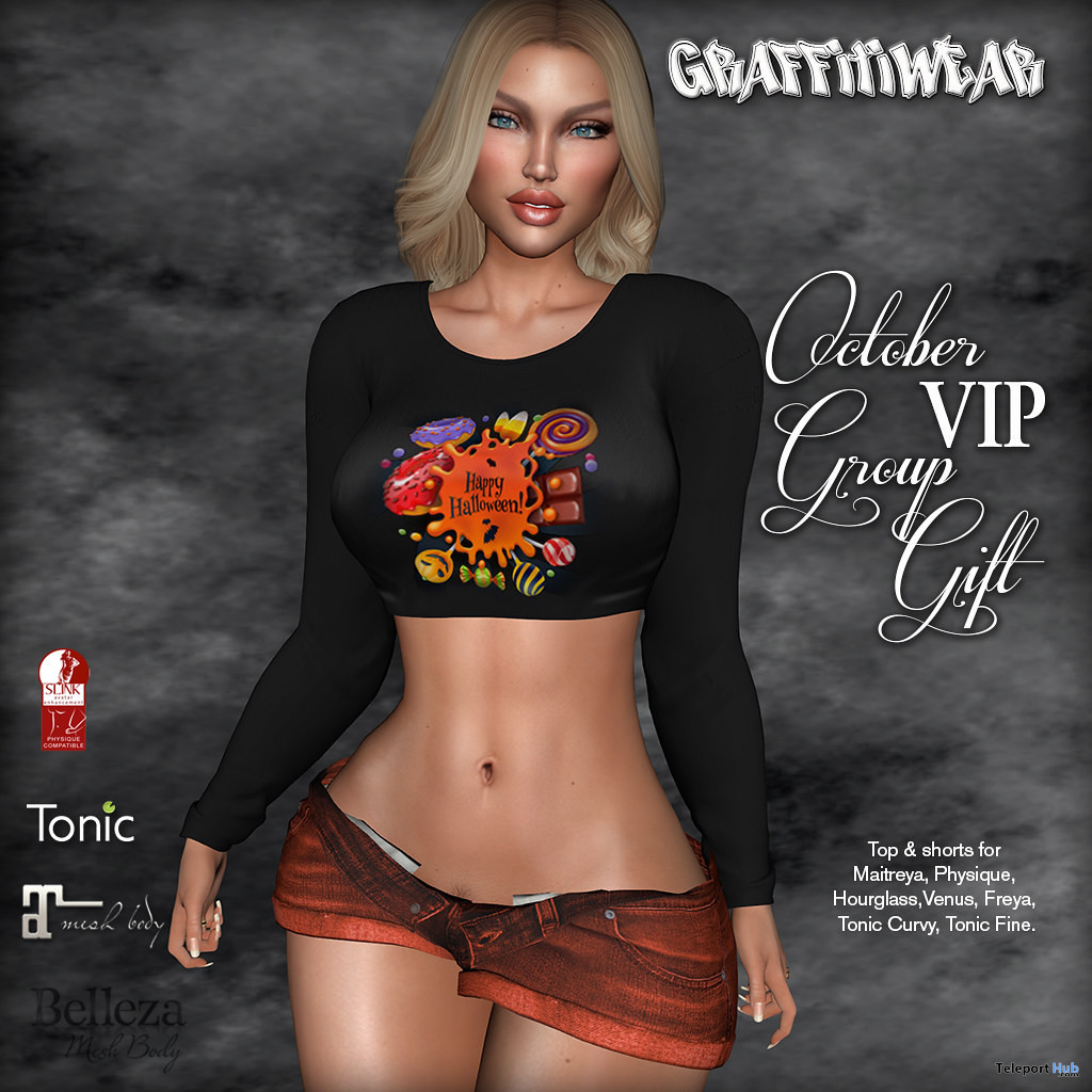 Halloween Top & Shorts October 2019 Group Gift by Graffitiwear- Teleport Hub - teleporthub.com