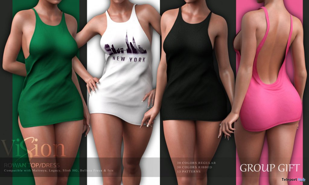 Rowan Tank Top Dress Fatpack October 2019 Group Gift by ViSion S&F- Teleport Hub - teleporthub.com