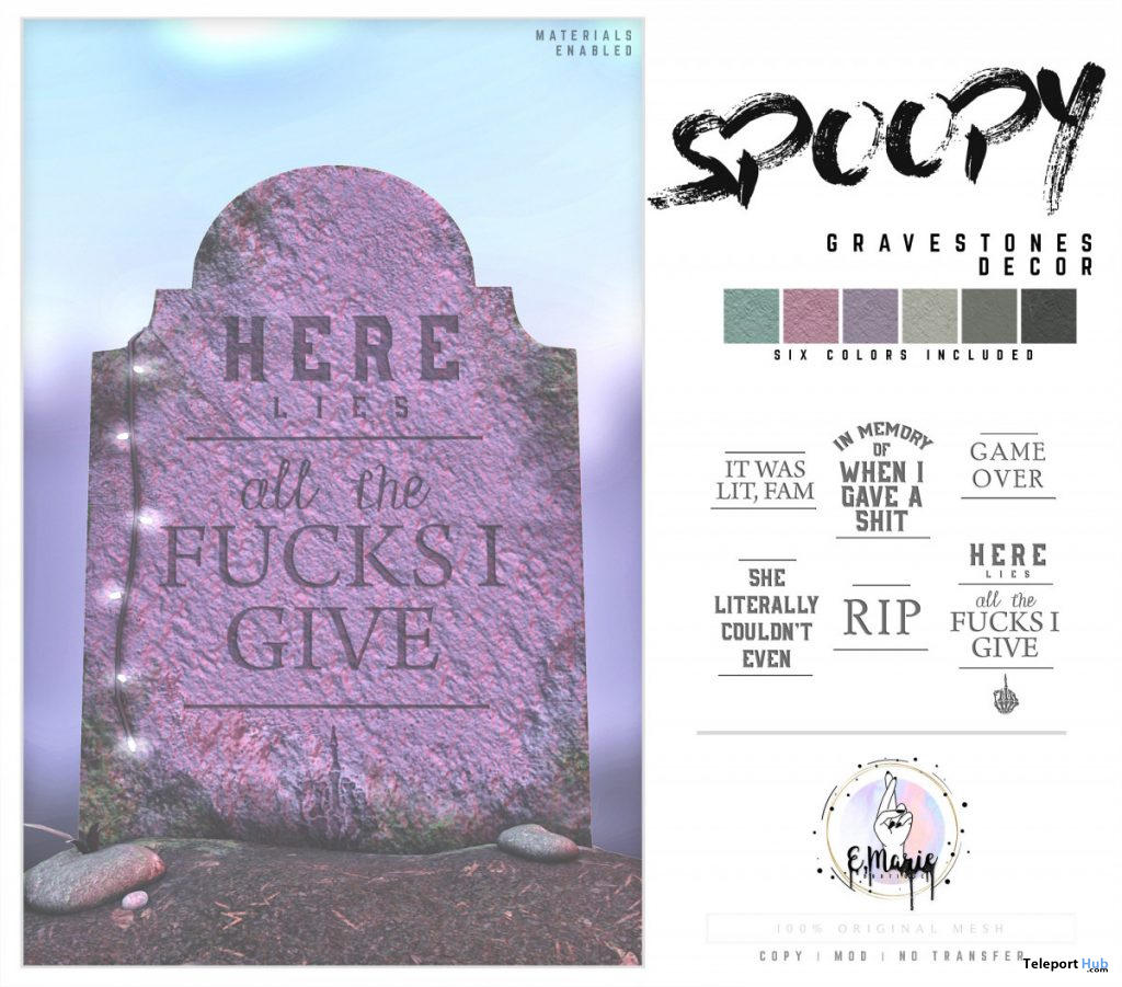 Spoopy Gravestones October 2019 Group Gift by e.marie- Teleport Hub - teleporthub.com