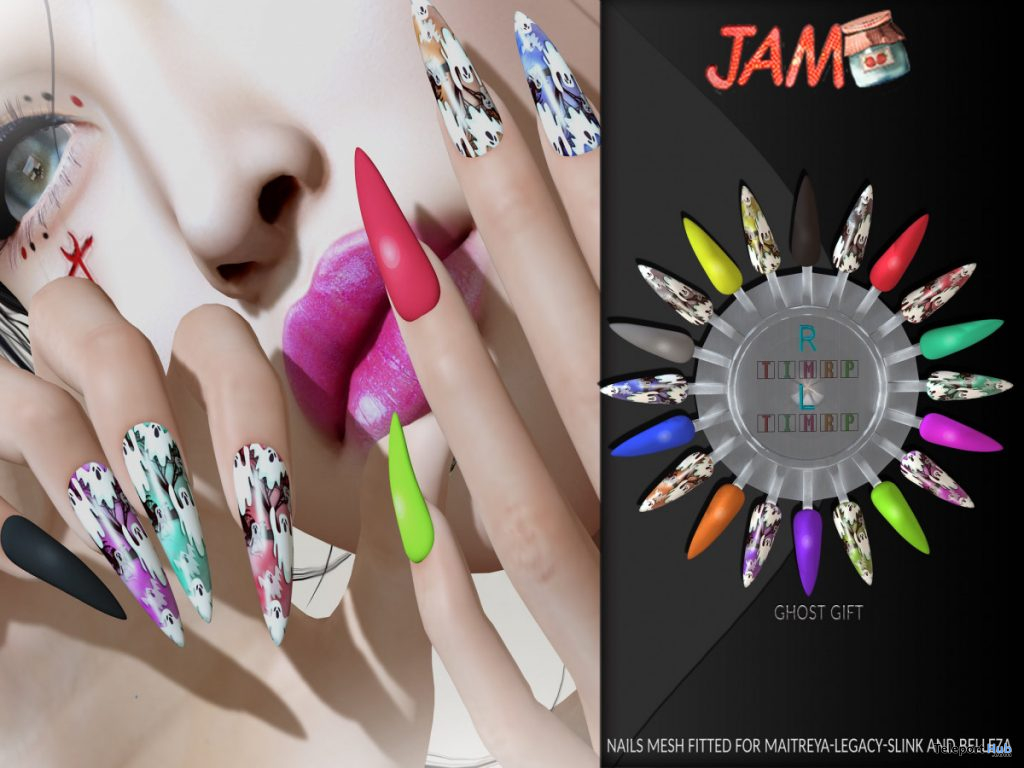 Ghost Nails October 2019 Group Gift by JAM - Teleport Hub - teleporthub.com