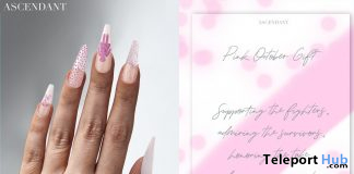 Pink Mesh Nails October 2019 Group Gift by Ascendant - Teleport Hub - teleporthub.com