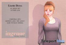 Lisette Dress October 2019 Group Gift by Ingenue - Teleport Hub - teleporthub.com