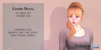 Lisette Dress October 2019 Group Gift by Ingenue - Teleport Hub - teleporthub.com