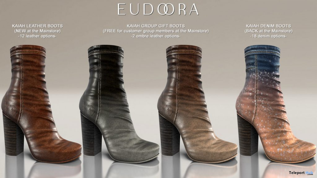 Kaiah Boots Denim&Leather October 2019 Group Gift by Eudora3D - Teleport Hub - teleporthub.com